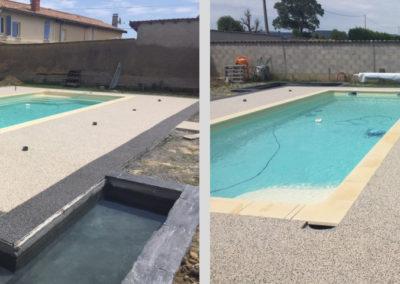 Résines de sols extérieures, plage piscine décorative